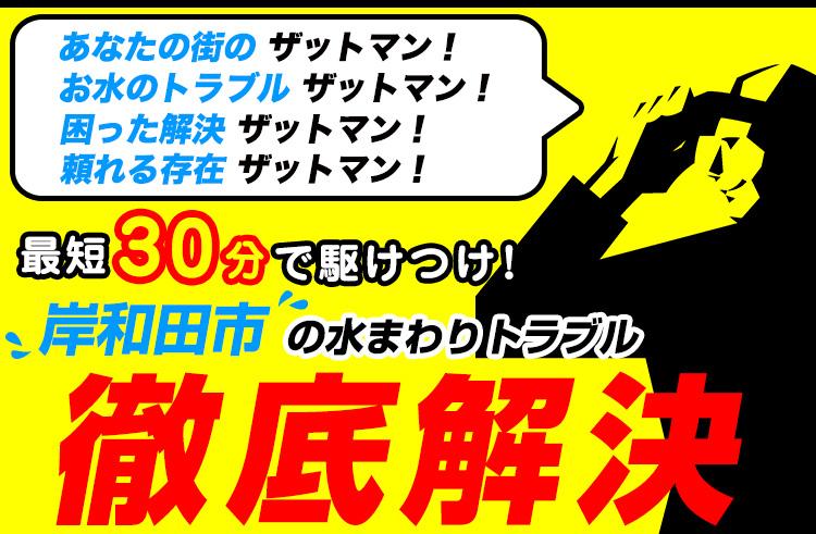 岸和田市のトイレのつまり・水漏れ等、水まわりのトラブルの修理・解決ならザットマン