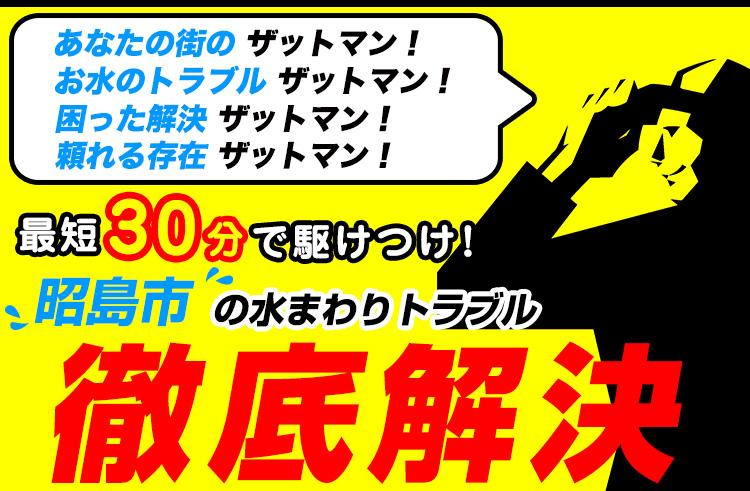 昭島市のトイレのつまり・水漏れ等、水まわりのトラブルの修理・解決ならザットマン